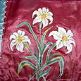 Victorian Painted Silk.  Clost Up.