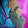 Vintage Handpainted Little Wooden Piggy Brooch