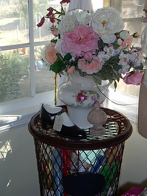 Viintage Trash Can and Rose Pitcher