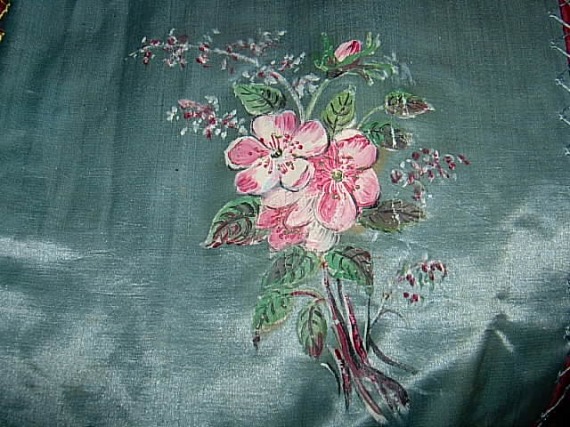 Victorian Painted Silk.  Close Up.