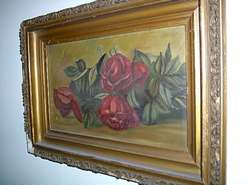 Antique Victorian Red Roses Oil Painting